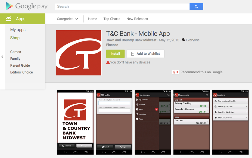 Google Play Mobile App for Town and Country Bank Midwest
