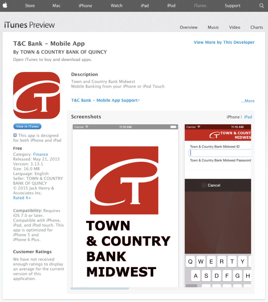 Town and Country Bank Midwest Mobile App in iTunes